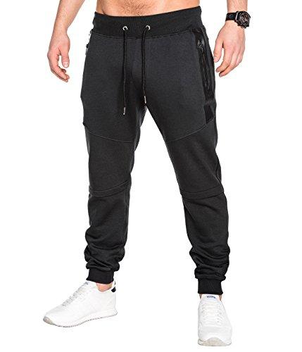 BetterStylz SlvrCatBZ Men' s Sportswear Tech Fleece Jogger Track Pants Jogging Regular Fit Fitness Bottom Tapered Fit 3 colors (S-XXL) (X-Large, Black/Black)