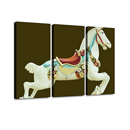 Classical Antique Style Child and Baby Toy Carousel Horse Print On Canvas Wall Artwork Modern Photography Home Decor Unique Pattern Stretched and Framed 3 Piece ()