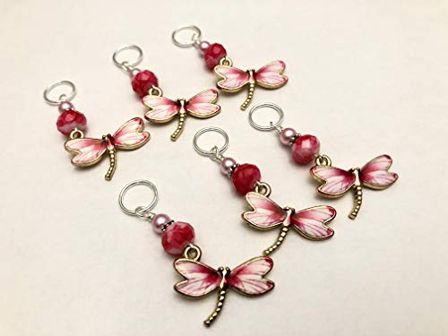 (Pink Dragonfly Knitting Stitch Marker Charms (set of 6))