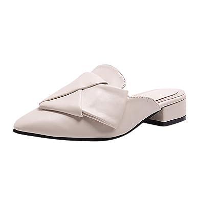 Sandalias De Las Mujeres, Resplend Moda Mujer Sexy Plana Puntiaguda Toe Taco Baotou Zapatos Gruesos TalóN Zapatos Antideslizante Zapatillas Antideslizante ...