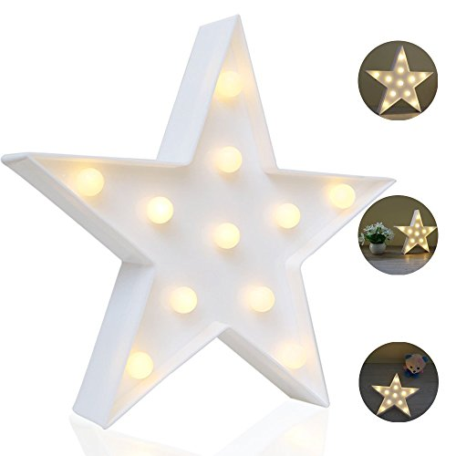 REVEW Marquee Night Light, Led Lamp Wall Decoration for Kids & Adults Room/Living Room/Bedroom Table - Battery Powered (Star)