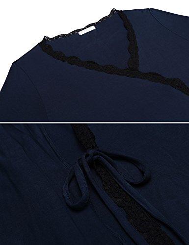 XXL Sleepwear Navy Lace Soft Bathrobe Trim Robe Kimono Womens S Ekouaer wUPnpqz0