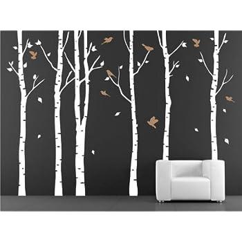 Amazon.com: Birch Trees Vinyl Wall Decals Birch Tree Decal Art for ...