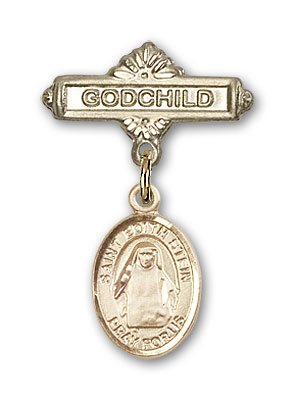 ReligiousObsession's Gold Filled Baby Badge with St. Edith Stein Charm and Godchild Badge Pin