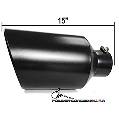 """Powder Coated Bolt On Diesel Exhaust Tip 4"""" inlet 8"""" Outlet 15"""" Long (BLACK): Automotive"""
