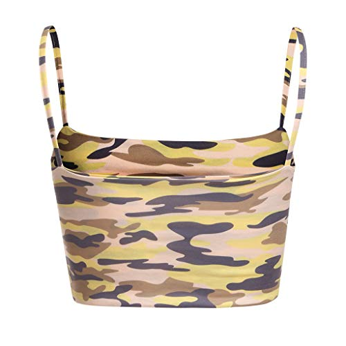 NUWFOR Women Camouflage Sleeveless Tank Top Bustier Bra Vest Crop Blouse Camis Tops(Yellow,US L Bust:24.6-36.2'') by NUWFOR (Image #4)