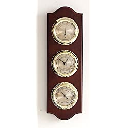Ambient Weather WS-MDF0831-CTH Gold Dial Cherry Wood Weather Station with Temperature, Humidity and Quartz Clock