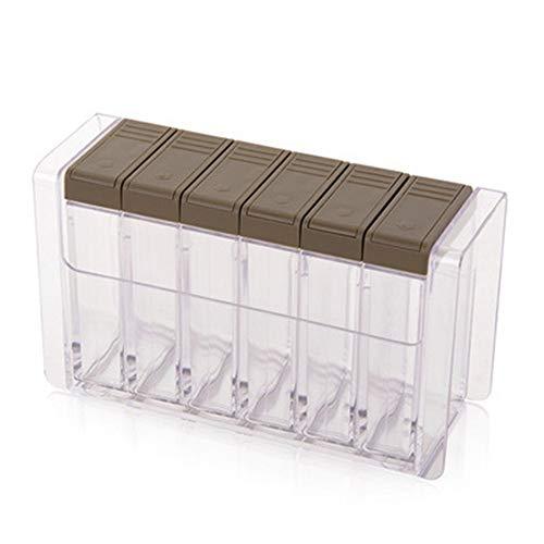 Home Tools,6ps/Set Seasoning Bottle Box Jar Condiment Storage Container Rack Herb Spice Jar