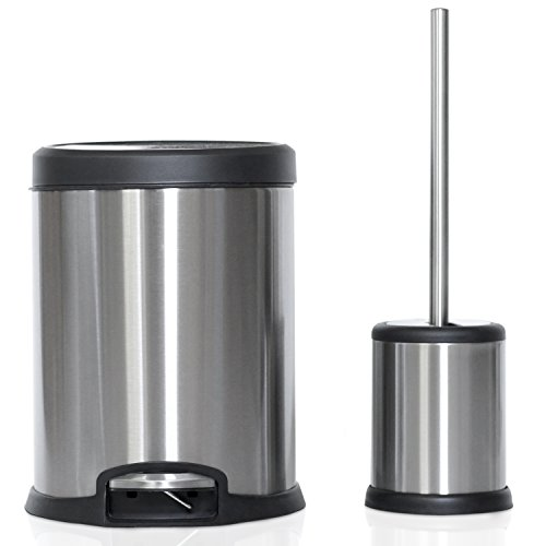 Facility Waste Receptacles - ToiletTree Products Toilet Brush with Lid and 5L Trash Can Combo Set (Combo)