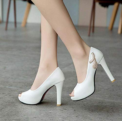 Zapatos Glter Peep Mujeres Tamaño Toe Super Sandalias Y 33 Plataforma White 43 Verano Tacón Primavera rqrwA5v