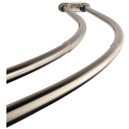Kingston Brass CCD2178 Adjustable 60-Inch-72-Inch Double Curved Stainless Steel Shower Curtain Rod, Satin Nickel ()