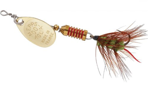 - Mepp's Aglia Ultra Lite Wooly Worm Single Hook Fishing Lure, 1/18-Ounce, Gold/Green Tail