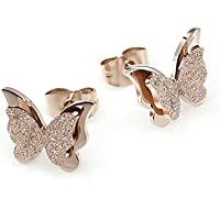 Yellow Chimes Charming Dual Butterfly Surgical Steel 18K Real Rose Gold Plated Stud Earrings for Girls and Women