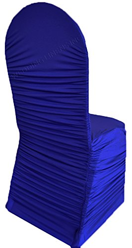 Wedding Linens Inc. Ruffle Spandex Banquet Fitted Chair Covers, Ruffled Ruched Lycra Stretch Elastic Wedding Party Decoration Chair - Royal Blue