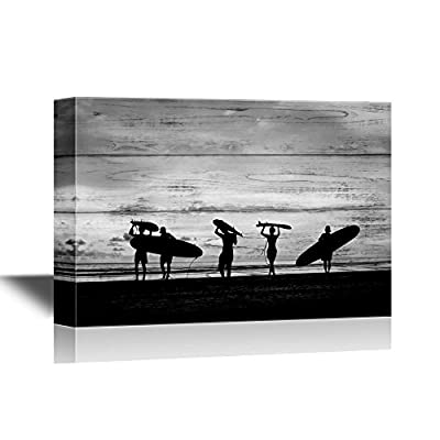 Water Entertainment Canvas Wall Art - Silhouette of Surfer People Carrying Their Surfboard on Sunset Beach - Gallery Wrap Modern Home Art | Ready to Hang - 16x24 inches
