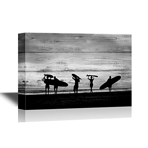 (wall26 - Water Entertainment Canvas Wall Art - Silhouette of Surfer People Carrying Their Surfboard on Sunset Beach - Gallery Wrap Modern Home Decor | Ready to Hang - 32x48 inches)