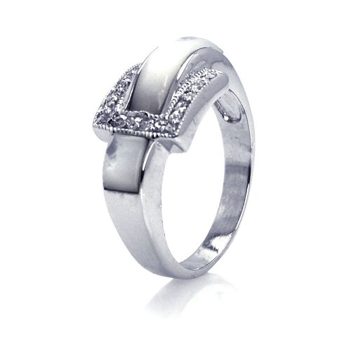 Simulated Pearl Cubic Zirconia Belt Buckle Ring Rhodium Plated Sterling Silver Size 8 ()