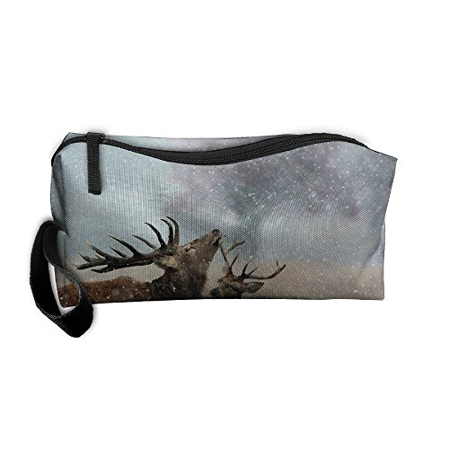 Portable Make-up Receive Bag Free Deer Travel&home Storage Bag Zipper Organization Space Saver Canvas Buggy Pouch ()