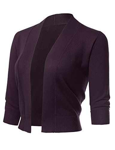 Women's Classic 3/4 Sleeve Open Front Cropped Cardigans (S-XL) S Dark Purple