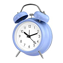 PILIFE 5 Twin Bell Alarm Clock with Backlight, Loud Alarm to Wake You Up, Silent Working Perfect for Bedroom and Work(Blue)