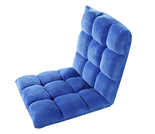 Iconic Home FRC9015-AN Lounge Adjustable Recliner Rocker Memory Foam Armless Floor Gaming Ergonomic Chair, Royal Blue