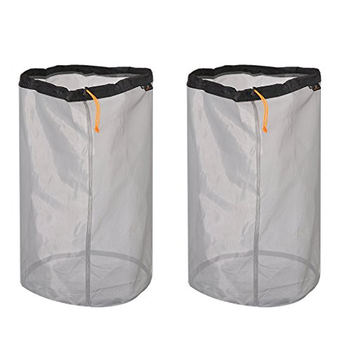 (MagiDeal 2pcs Ultra-Light Drawstring Mesh Stuff Sack Storage Bag for Travel Camping Hiking Fishing Mountaineering S/M/L/XL/XXL - Black, XXL)