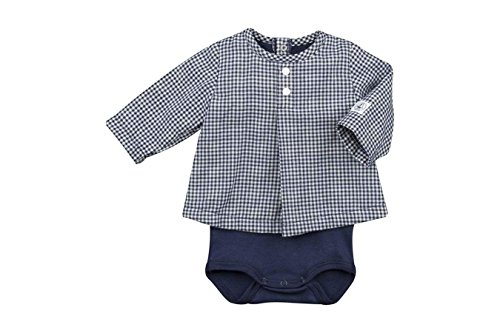 Petit Bateau Long Sleeve Bodysuit - Petit Bateau Baby Girls' Baby Long Sleeve Check Print Bodysuit Top, 18M (32 inches)