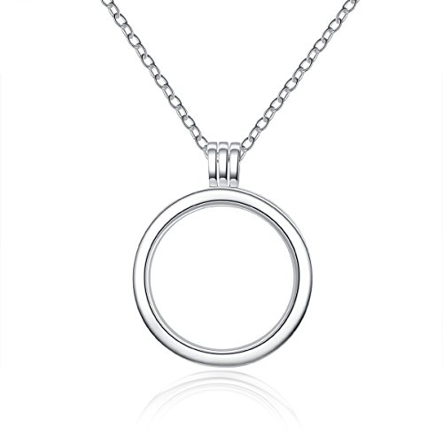BAMOER White Gold Plated 925 Sterling Silver Eternity Necklace Memory Locket Necklace for Women Teen Girls (Locket Necklace)
