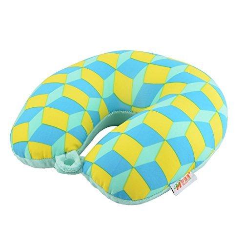 eDealMax Patrn Rombo poliestireno recorrido del hogar en Forma de U Dormir El descanso ayuda del Cuello del amortiguador de la almohadilla Cabeza Azul