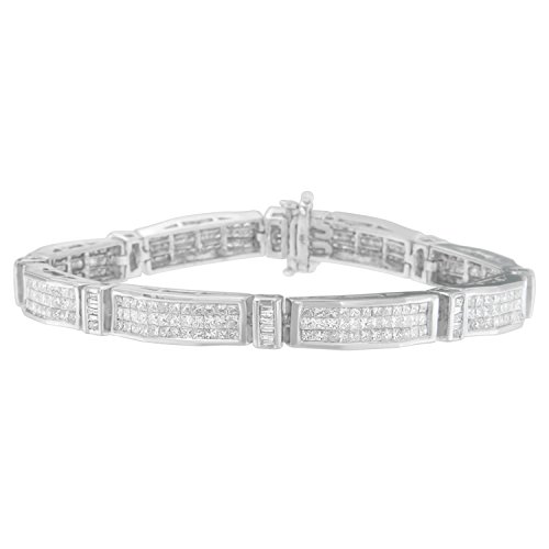 14K White Gold Princess and Baguette Cut Diamond Beaded Bracelet (7.00 cttw, H-I Color, I1-I2 Clarity)