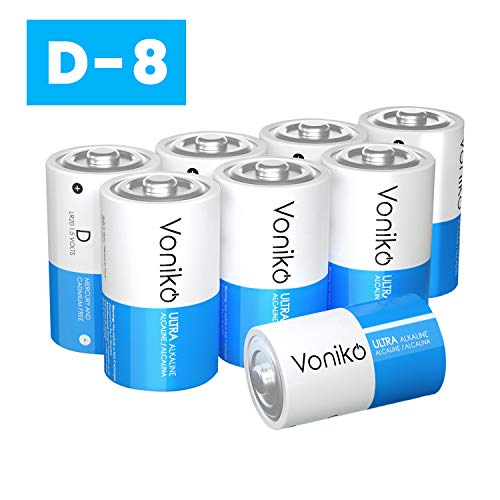 VONIKO Ultra Alkaline D Batteries,Batteries D Size 8 Pack, 10-Year Shelf Life and 6-9 Times The Power as Carbon…