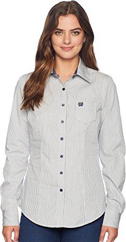 Cinch Women's Cotton Plain Weave Stripe Light Blue Small (Cinch Polka Dot)