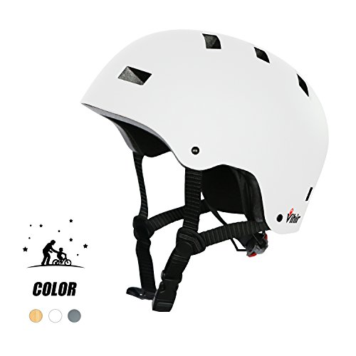 Multi Sports Bike Skateboard Helmet- Vihir Classic Adult and Kids Adjustable Dial Helmet, White, M