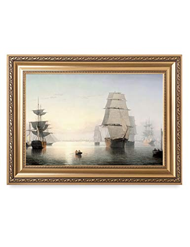 DECORARTS - Boston Harbor, Sunset, Fitz Henry Lane Classic Art Reproductions. Giclee Prints& Museum Quality Framed Art for Wall Decor. 24x16 Framed Size: 26x18