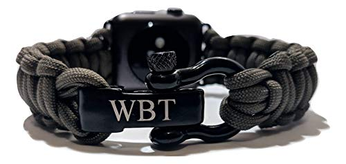 WATER BEAR TACTICAL 550 Paracord Band Made for Apple Watch 42mm & 44mm with Stainless Steel Shackle for Apple Watch Series 4, 3, 2, 1 (Olive, Medium)