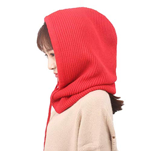 Facecozy Women Winter Cashmere Knit Hooded Collar Detachable Elastic Cap Warm Thick Wool Scarf Drawstring Beam Cap (Red)