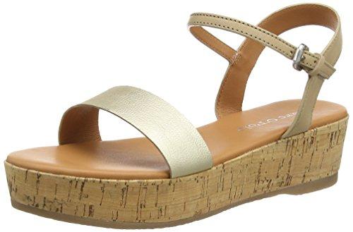 Marc O'Polo Wedge Sandal - Sandalias Mujer Dorado - Gold (gold/taupe 173)