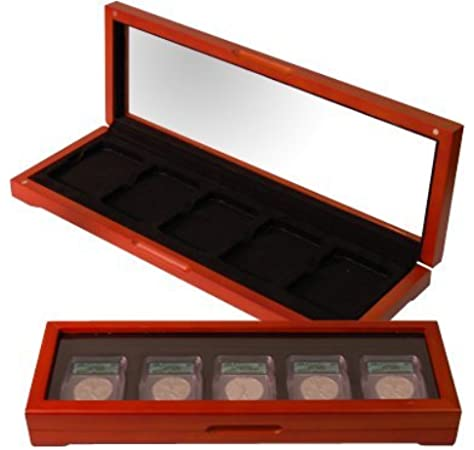 Wood Display Box for 5 Graded Coins