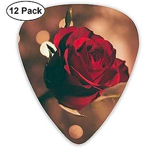 12er Pack Guitar Picks Wunderschönes Red Rose Design für einzigartige Gitarrenbässe E-Akustikgitarren