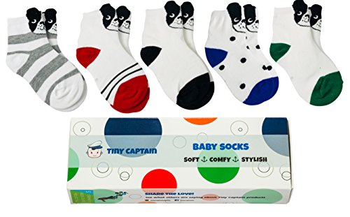 Babys First Wardrobe (Toddler Socks For Boys Baby Gift Best Cartoon Cotton Sock 1-3 Year Old Boy Gifts Set Crew Ankle Shoe Socks From Tiny Captain (White))