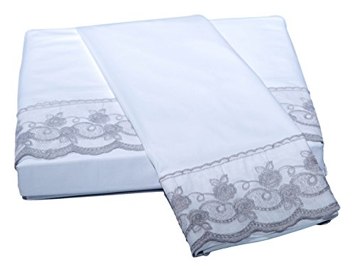 Belle Epoque Traditional Capri LACE Floral Sheet Set, King, White/Silver