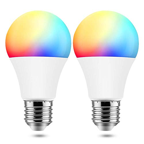 BrizLabs Smart Light Bulbs, 9W WiFi Bulbs No Hub Required, Warm White & Multicolor Dimmable LED Bulb, A19 60W eq, E26, 806LM, Compatible with Alexa & Google Assistant, 2 Pack