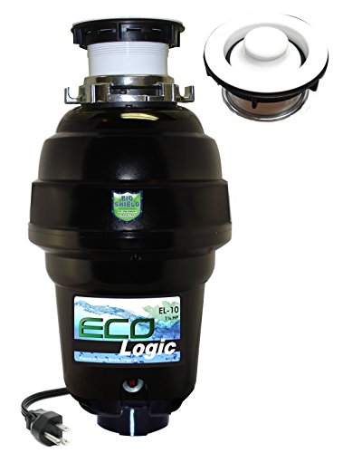 Eco Logic EL-10-DS-WH 10 Designer Series Food Waste Disposer with White Sink Flange, 1-1/4 (White Disposer Flange)