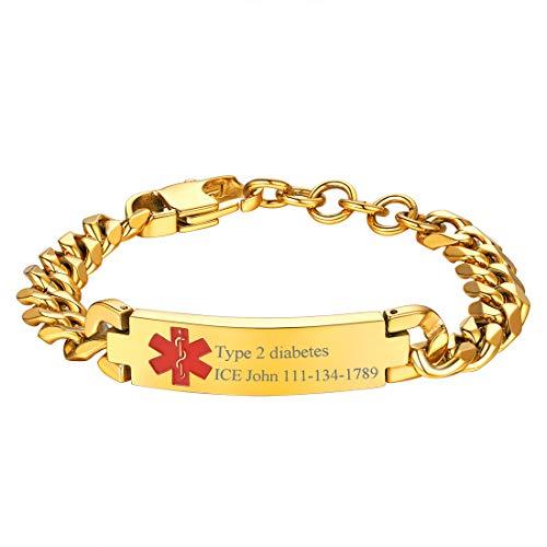 U7 Customized Emergency Medical Alert Bracelet Stainless Steel / 18K Gold Plated 10MM Cuban Curb Link Chain Free Engraving Caduceus ID Bar Bracelet Bangle, Adjustable ()