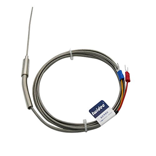 Twidec Temperature Sensor Probe Temperature Controller Generic New High Temperature 0-600 C Thermocouple J Type Probe Sensors Stainless Steel Diameter 1.5mm Long Rod 300mm line 2m