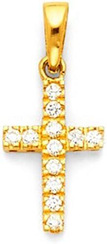 American Set Co 14k White Gold Cross CZ Religious Pendant Charm