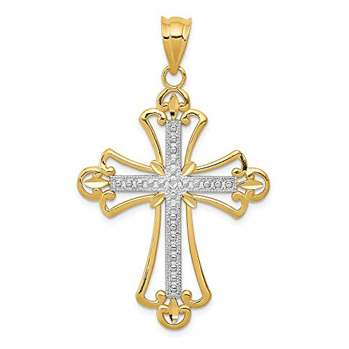 (Solid 14k Yellow and White Gold Two Tone Budded Cross Pendant (22mm x 38mm) )