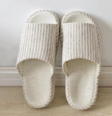 apertura donne men invernale indoor coppia e female lino Autunno uomini pantofole di a brown casa righe beige e pantofole wxqYTTSg17
