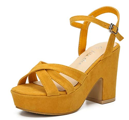 (Women's Wedge Platform Sandals Peep Round Toe Chunky Heeled Pumps Shoes Yellow Velvet Size US 9.5 EU)