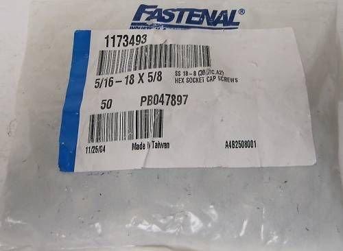 Fastenal 5 16 Hex Socket Cap Screws 1173493Ib Bag Of 50 Model